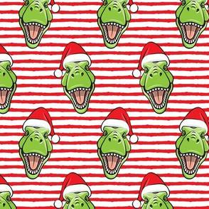 Santa Trex - Tyrannosaurus Dinosaur - Christmas -  red stripes - LAD19