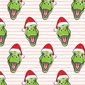 Santa Trex - Tyrannosaurus Dinosaur - Christmas -  pink stripes - LAD19
