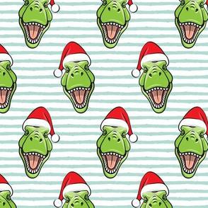 Santa Trex - Tyrannosaurus Dinosaur - Christmas -  aqua stripes - LAD19