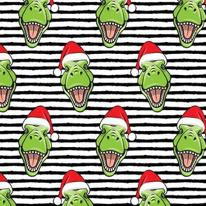 Santa Trex - Tyrannosaurus Dinosaur - Christmas  - black stripes - LAD19