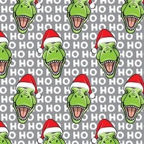 Santa Trex - Tyrannosaurus Dinosaur - Christmas - hohoho - grey - LAD19