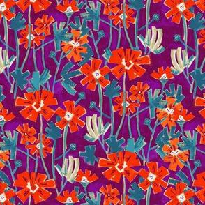 Fiery red flowers on purple background