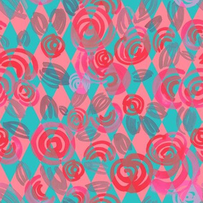 Argyle Pattern with pink abstract flowers