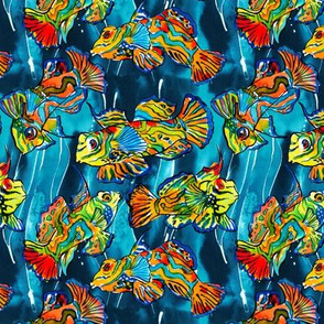 Color tropical fishes on dark blue background