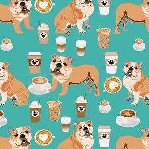 english bulldog coffee fabric - dog fabric, coffee fabric, bulldog fabric, bully fabric, dog, dogs - teal