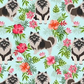 keeshond hawaiian fabric - dog fabric, keeshond fabric, dog breeds, dog breed, hawaiian fabric, tropical fabric - blue