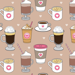 large pink coffee drinks on brown