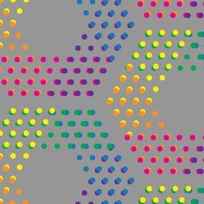 Color dotted hexagons on grey