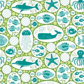 Aquatic Bubbles Teal and Green
