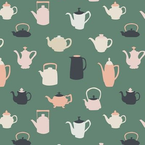 Mossy Green and Pink Teapots