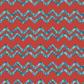 TULUM - Wavy stripes - orange & blue