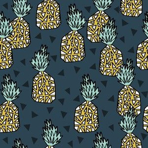 pineapple fabric // pineapples, fruit, fruit fabric, andrea lauren fabric, summer, summer fabric, tropical fabric, tropicals - blue