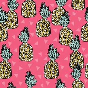 pineapple fabric // pineapples, fruit, fruit fabric, andrea lauren fabric, summer, summer fabric, tropical fabric, tropicals -  pink