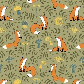 cute fox mushroom leave seamless pattern. Great for kids and textile design