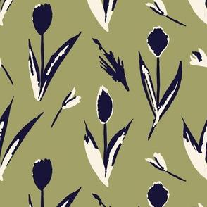 Haru Tulip toss (green and indigo)
