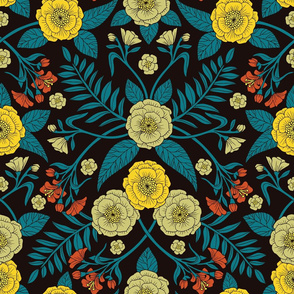 Teal, Yellow, Orange & Black Botanical Pattern