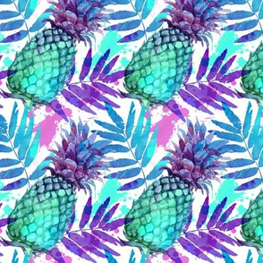 Vivid colors watercolor pineapples (small size)