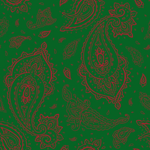 Bandana Paisley Red on Green Christmas