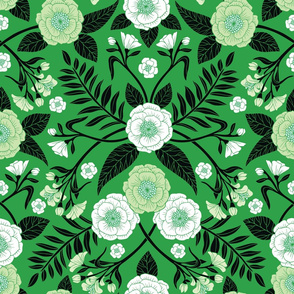 Green, Black & White Floral Pattern
