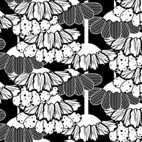 White Flower Rain Chain on Black