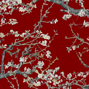 Almond Blossoms ~ Van Gogh ~ Grey on Oxblood