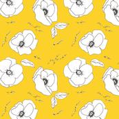 Poppy Pattern Mustard Rotated