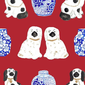 Staffordshire Dogs + Ginger Jars in Scarlet Red