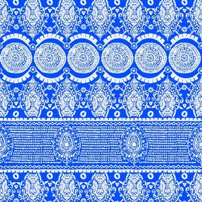 Maximalist Jeweled Stripe in White & Blue