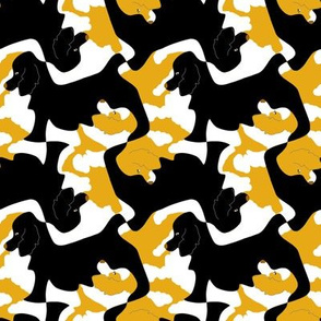 Black and Particolor Gold Cocker Spaniel Tesselation