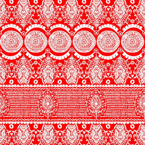Maximalist Jeweled Stripe in White & Red