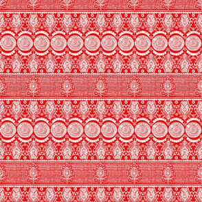 Maximalist Jeweled Stripe in White & Red (Small Scale)
