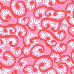 Pink red doodle tendril floral