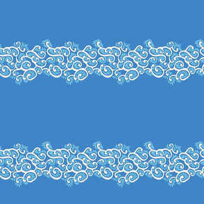blue and white tendril floral border