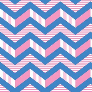 Pink blue stripes chevron