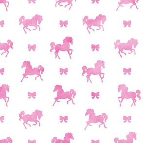 Horses and Bows Pattern in Pink Watercolor on White