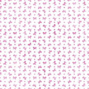 Micro Ditsy Horses and Bows Pattern in Pink Watercolor on White