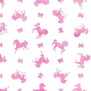 Ditsy Horses and Bows Pattern in Pink Watercolor on White