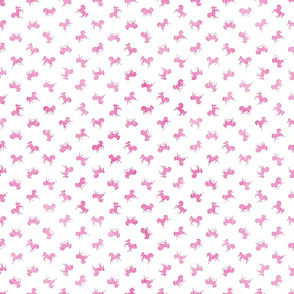 Micro Ditsy Unicorn Pattern in Pink Watercolor on White