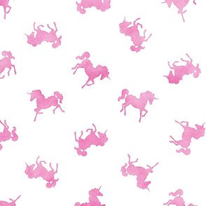 Ditsy Unicorn Pattern in Pink Watercolor on White
