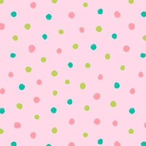 Green pink brush dots on pink background