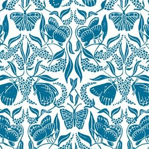 blue linoprint butterflies