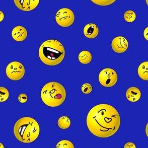 Emoji balls on dark blue background