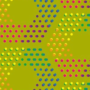 Color dotted hexagons on golden green