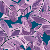 Banana Palms in purple on denim blue