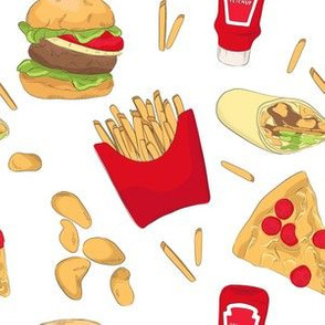 Burger, pizza, French fries, fast food