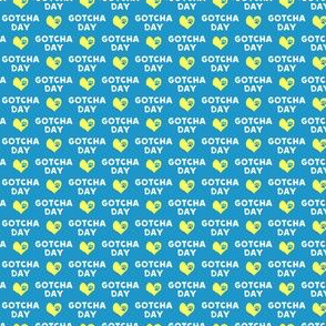 (micro scale) Gotcha day - paw & heart - yellow on blue - LAD19BS