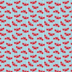 (micro scale) cute crabs - nautical summer - bright blue stripes - LAD19BS