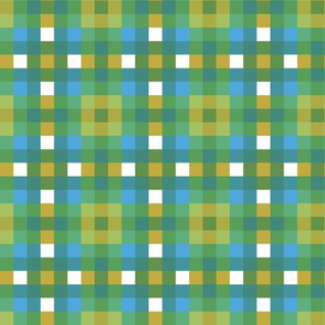 green white blue tartan plaid