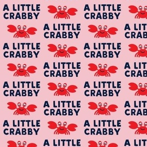 a little crabby - pink & navy - nautical summer - LAD19