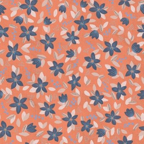 Linen Peach and Periwinkle Floral